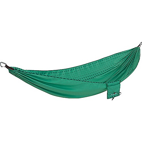 Therm-a-Rest Slacker Hammock Mint Therm-a-Rest Slacker Hammock - Mint - in stock now. FEATURES of the Therm-a-Rest Slacker Hammock 100% ripstop polyester adds comfort; dries faster than nylon One-piece design increases comfort and boosts durability 400 lb. capacity Stuffs into integrated pocket; sized to hold tablets and e-readers Ultralight aluminum carabiners for easy hanging Single Dimensions: 116 x 63 in. Double Dimensions: 116 x 74 in.