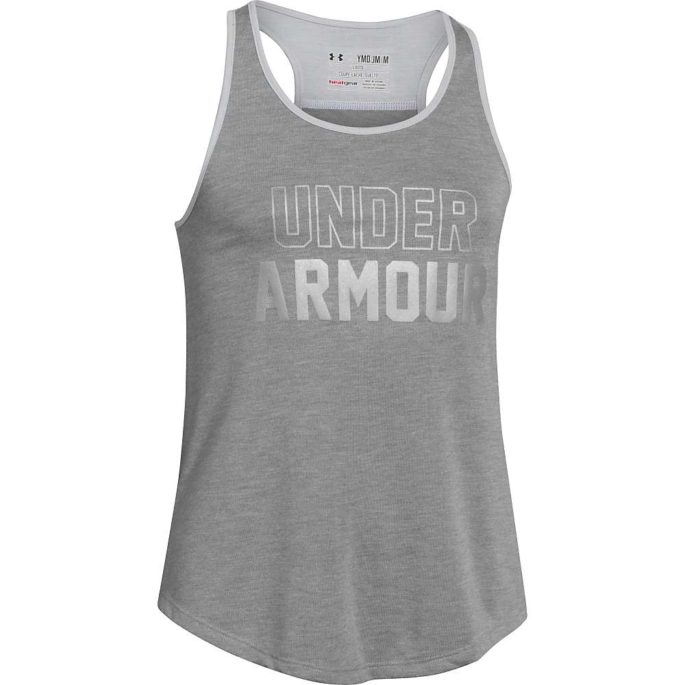 Under Armour Girls' Branded Tank - Small - True Gray Heather/Silver Heather/Metallic Silver