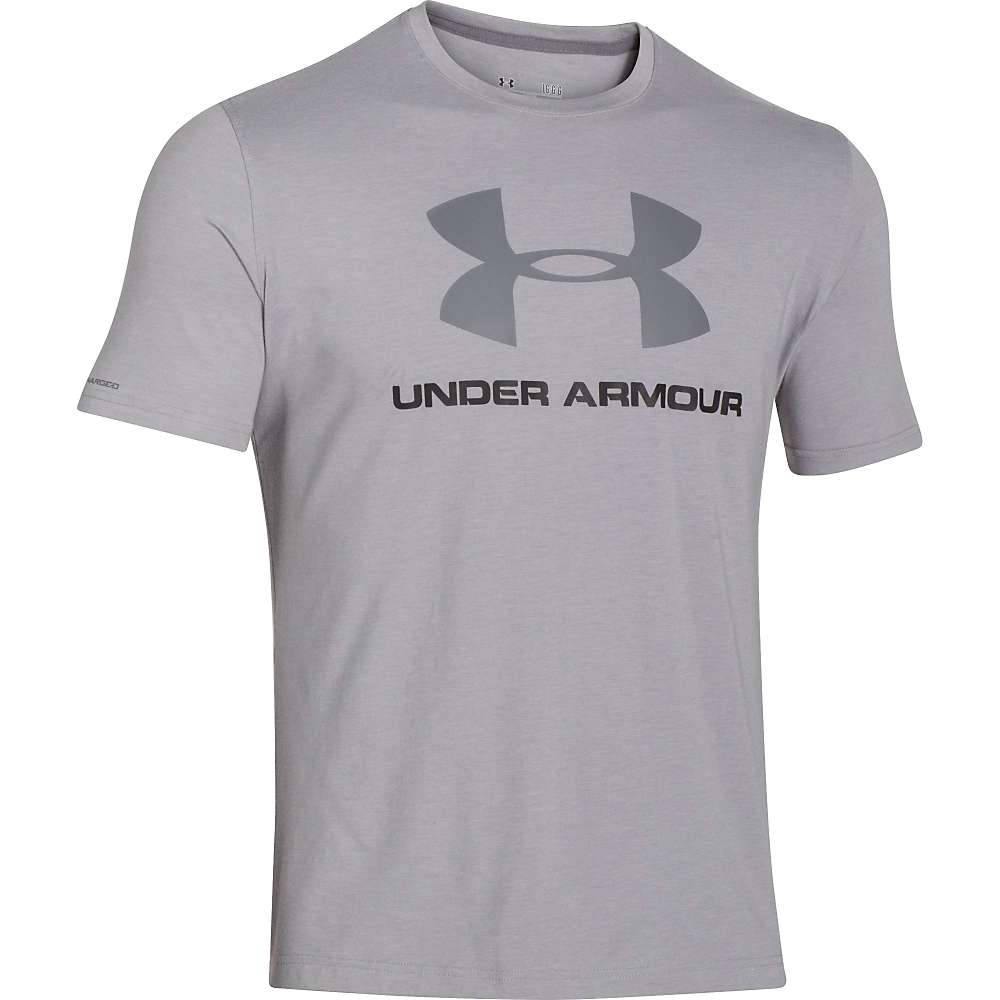 Under Armour Men's UA Charged Cotton Sportstyle Logo Tee - Small - True Grey Heather / Black / Graphite