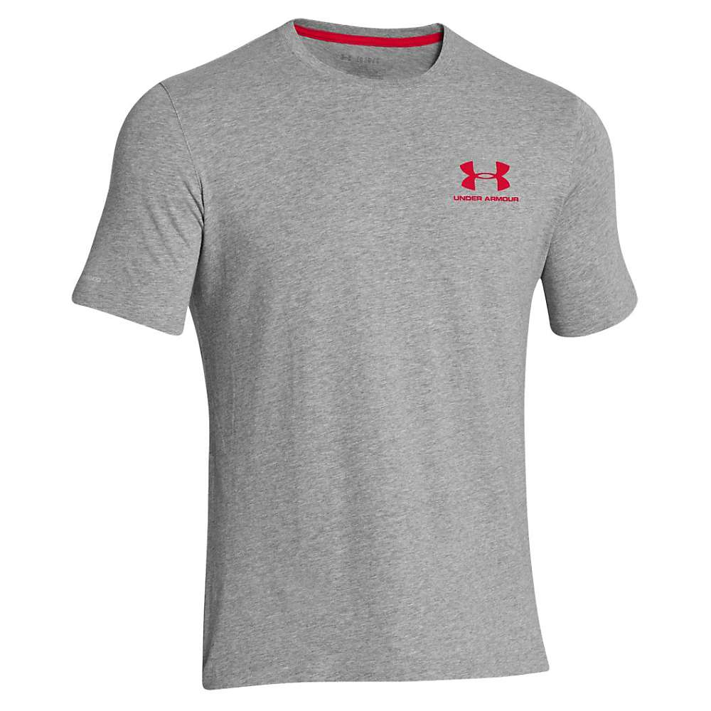 Under Armour Men's UA Charged Cotton Sportstyle Left Chest Lockup Tee - Small - True Grey Heather / Red