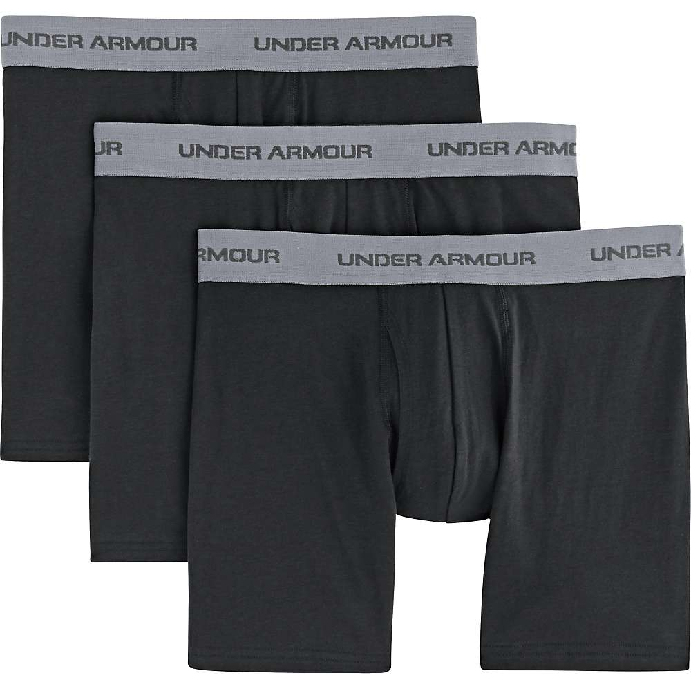 Under Armour Men's Charged Cotton Stretch 6 Inch Boxerjock 3 Pack - Small - Black / Black / Black
