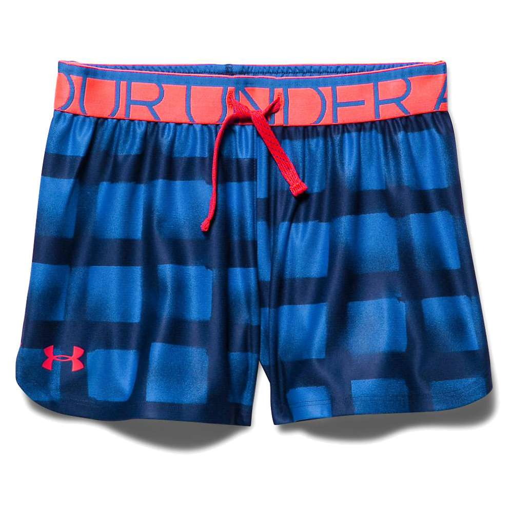 Under Armour Girls' Play Up Short - Small - Ultra Blue / Rocket Red