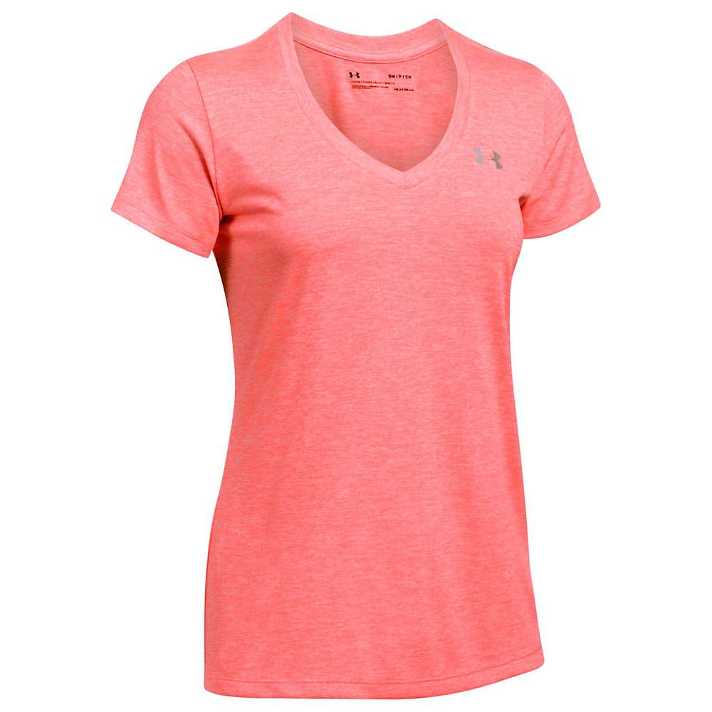Under Armour Women's UA Tech Twist V-Neck Tee - Medium - Marathon Red / Metallic Silver