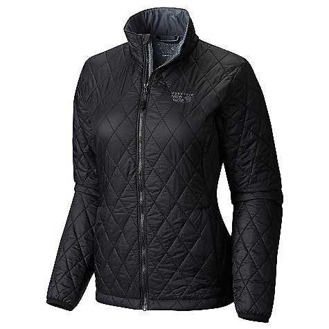 Mountain Hardwear Women's Thermostatic Jacket Black / Graphite Mountain Hardwear Women's Thermostatic Jacket - Black / Graphite - in stock now. FEATURES of the Mountain Hardwear Women's Thermostatic Jacket Thermal.Q Elite 60g/m2 insulation keeps you warm and dry, 20D nylon fabric is light and tough Compresses down and stows in its own pocket for unbeatable packability When compressed, has a carabiner loop so it can be attached to a harness Two hand warmer pockets are harness and pack compatible Single chest pocket is harness and pack compatible Elastane cuffs seal in warmth, block out weather Dual hem drawcords for easy adjustments on the fly
