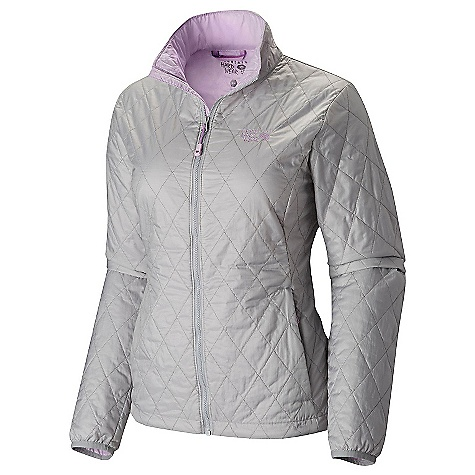 Mountain Hardwear Women's Thermostatic Jacket Steam / Phantom Purple Mountain Hardwear Women's Thermostatic Jacket - Steam / Phantom Purple - in stock now. FEATURES of the Mountain Hardwear Women's Thermostatic Jacket Thermal.Q Elite 60g/m2 insulation keeps you warm and dry, 20D nylon fabric is light and tough Compresses down and stows in its own pocket for unbeatable packability When compressed, has a carabiner loop so it can be attached to a harness Two hand warmer pockets are harness and pack compatible Single chest pocket is harness and pack compatible Elastane cuffs seal in warmth, block out weather Dual hem drawcords for easy adjustments on the fly