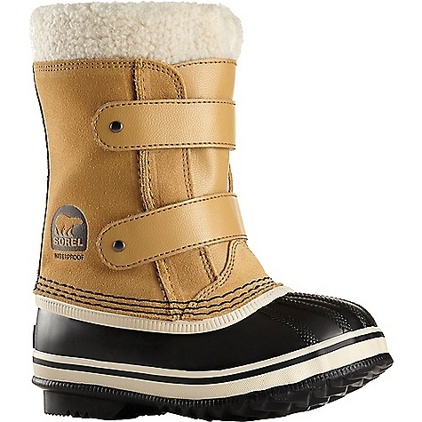 Sorel Kids' 1964 Pac Strap Boot Curry Sorel Kids' 1964 Pac Strap Boot - Curry - in stock now. FEATURES of the Sorel Kids' 1964 Pac Strap Boot Upper: Waterproof suede leather upper with two Velcro straps for easy closure Seam-sealed waterproof construction Insulation: Removable (9mm for children and 6mm for toddlers) washable recycled felt innerboot with Sherpa Pile snow cuff Midsole: 2.5 mm bonded felt frost plug Outsole: Handcrafted vulcanized rubber with herringbone design Leather wrapped heel
