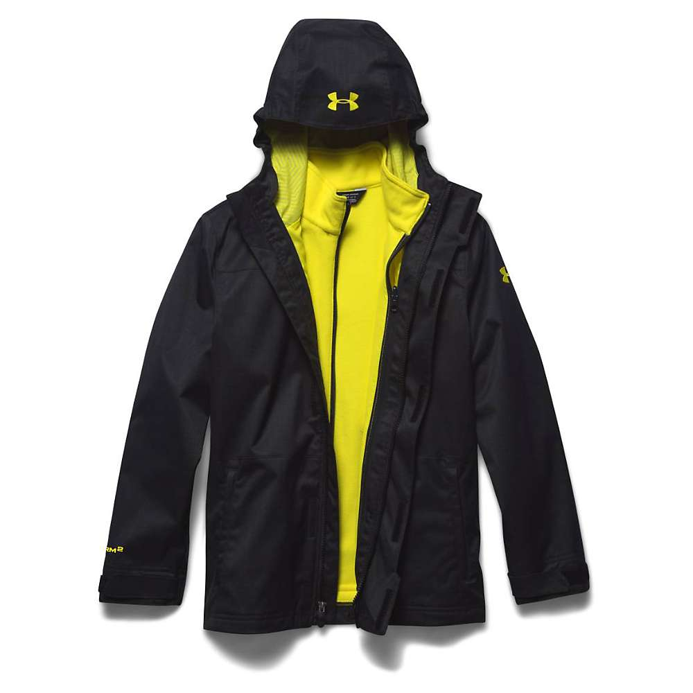 Under Armour Youth ColdGear Infrared Wildwood 3-In-1 Hooded Jacket - XS - Black / Sunbleached