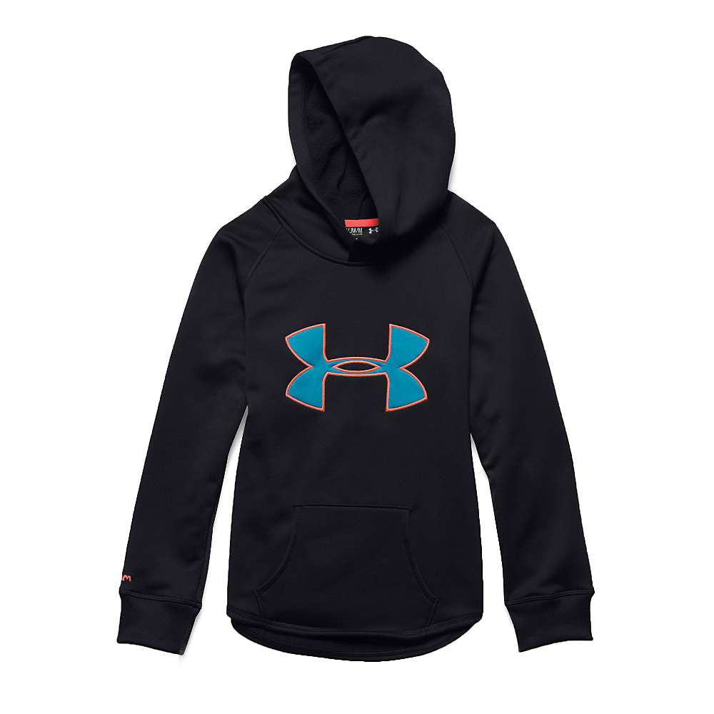 Under Armour Girl's Rival Hoodie - Large - Black / After Burn / Pacific