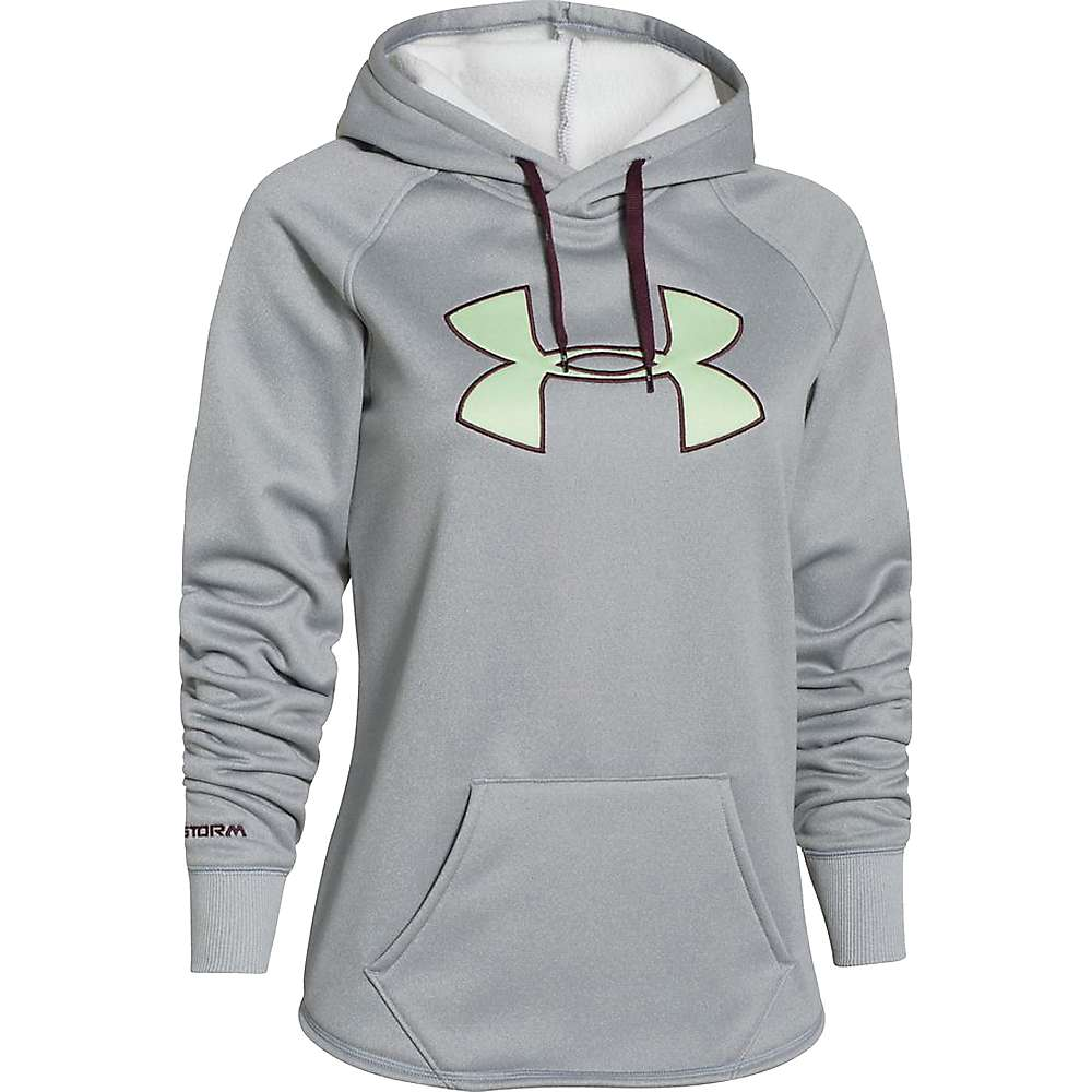Under Armour Women's Rival Hoodie - Medium - True Grey Heather / Sugar Mint / Ox Blood