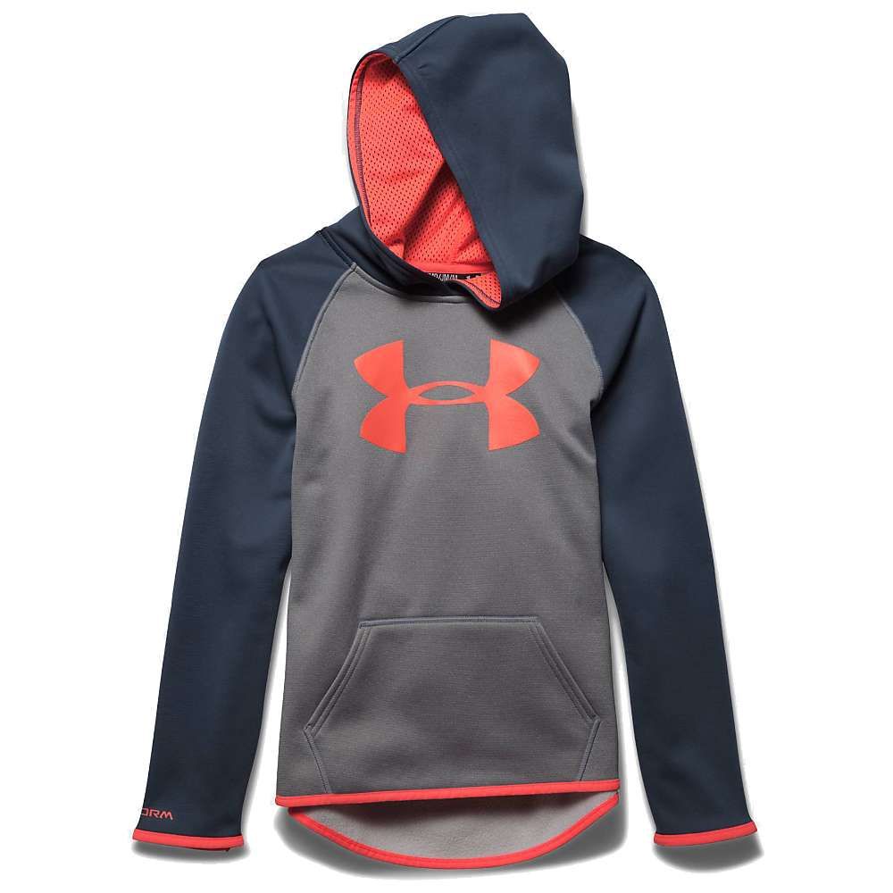 Under Armour Girls' Armour Fleece Big Logo Hoody - XL - True Gray Heather / After Burn / After Burn