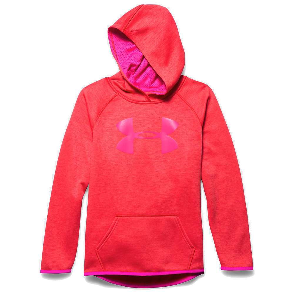 Under Armour Girls' Armour Fleece Printed Big Logo Hoody - Large - Pomegranate / Rebel Pink / Rebel Pink
