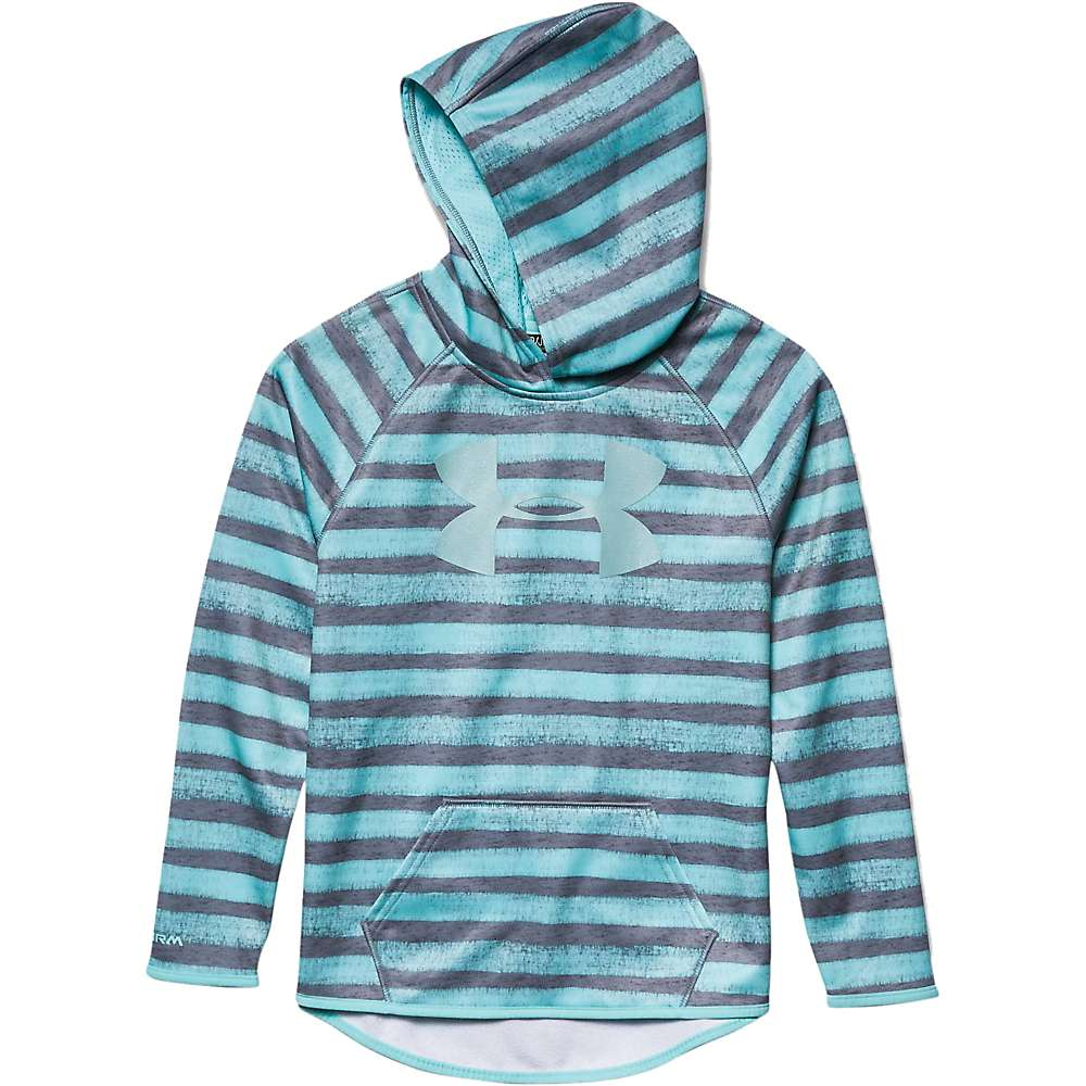 Under Armour Girls' Armour Fleece Printed Big Logo Hoody - Small - True Grey Heather / Veneer / Veneer