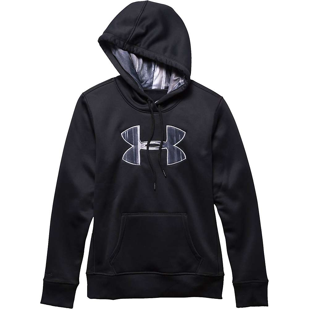 Under Armour Women's Armour Fleece Printed Fill Big Logo Hoody - Medium - Black / White / Boulder