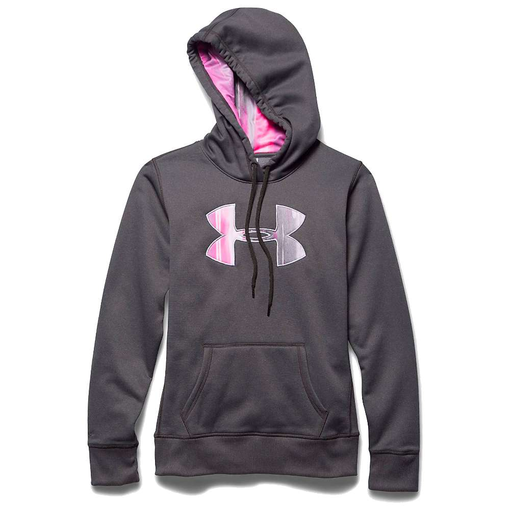 Under Armour Women's Armour Fleece Printed Fill Big Logo Hoody - XS - Carbon Heather / Pink Punk / Boulder