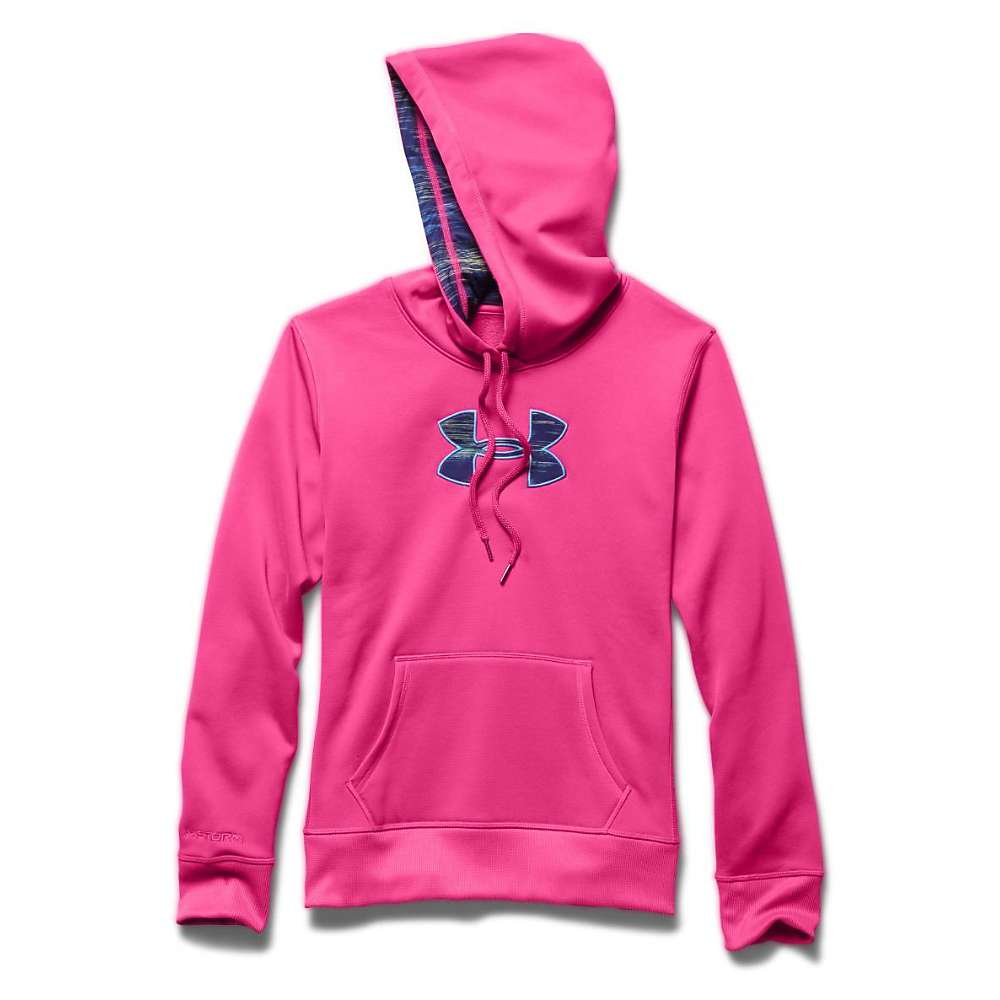 Under Armour Women's Armour Fleece Printed Fill Big Logo Hoody - Small - Rebel Pink / Europa Purple / Jazz Blue