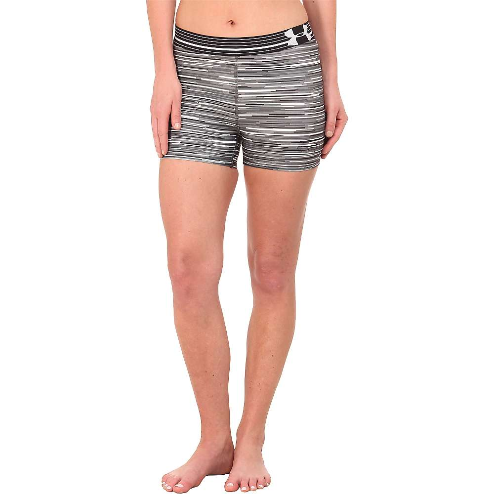 Under Armour Women's HeatGear Armour Compression Printed Shorty - Large - White / Graphite / Metallic Silver