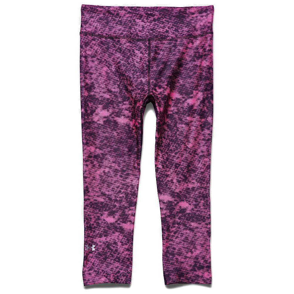 Under Armour Women's HeatGear Armour Printed Capri - Medium - Black / Pink Punk / Metallic Silver
