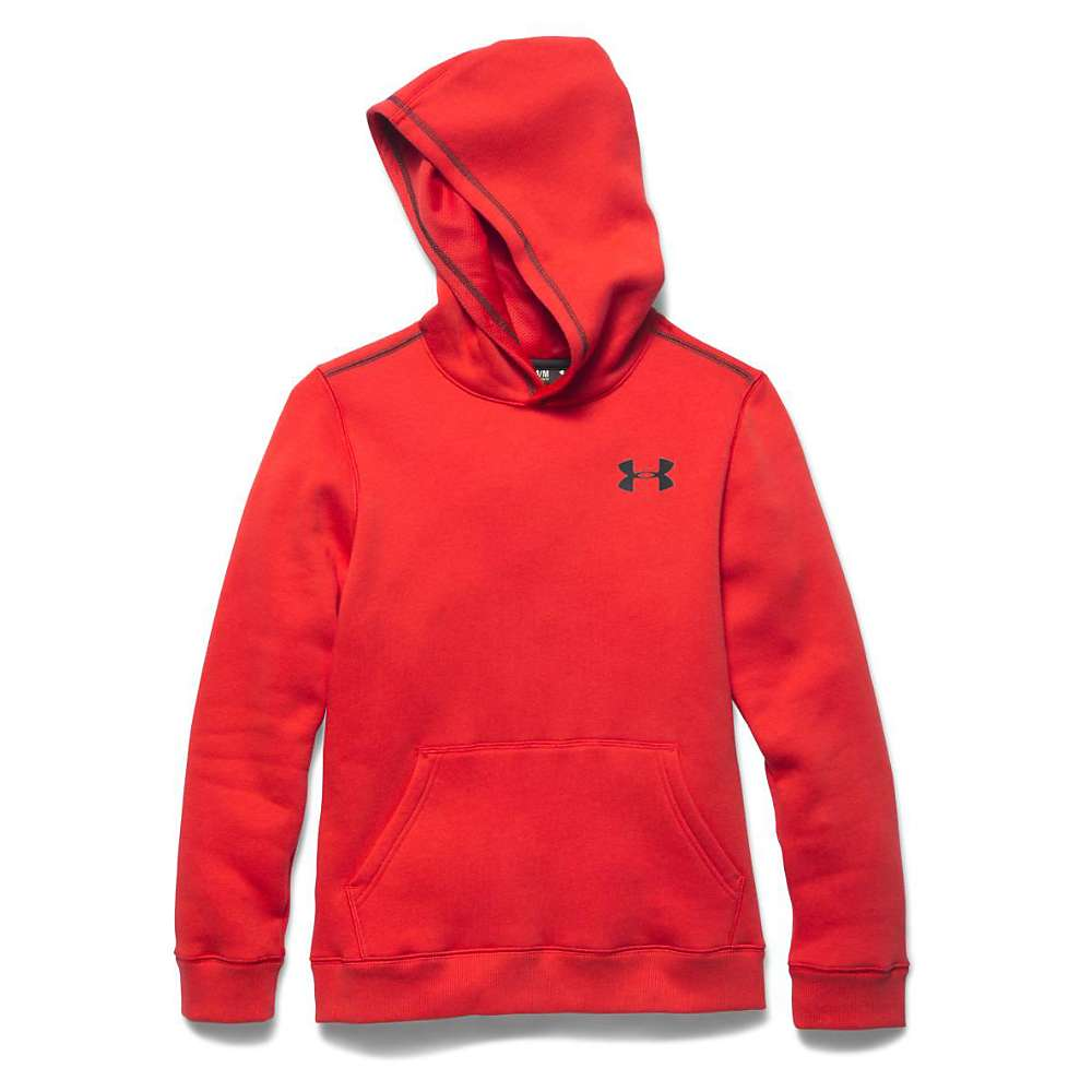 Under Armour Boys' Rival Cotton Hoody - Medium - Risk Red / Black