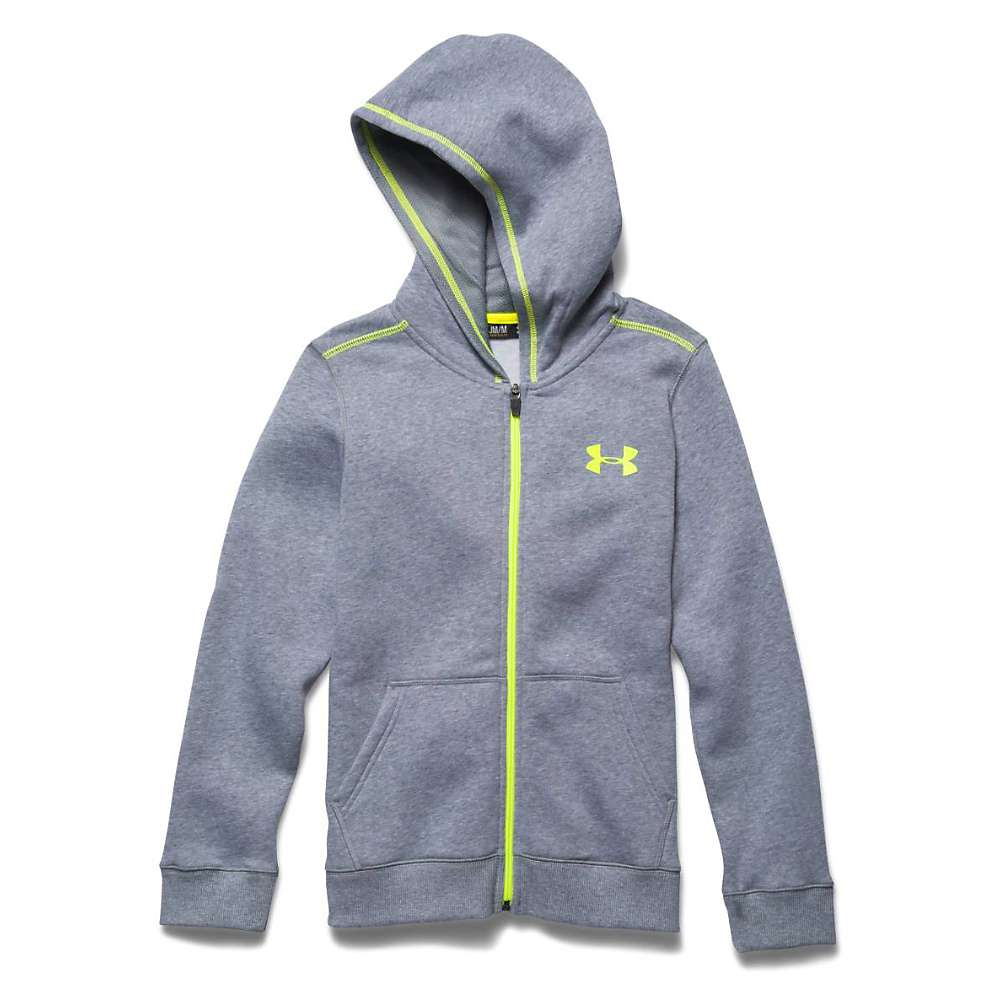 Under Armour Boys' Rival Cotton Full Zip Hoody - XL - True Gray Heather / High Vis Yellow