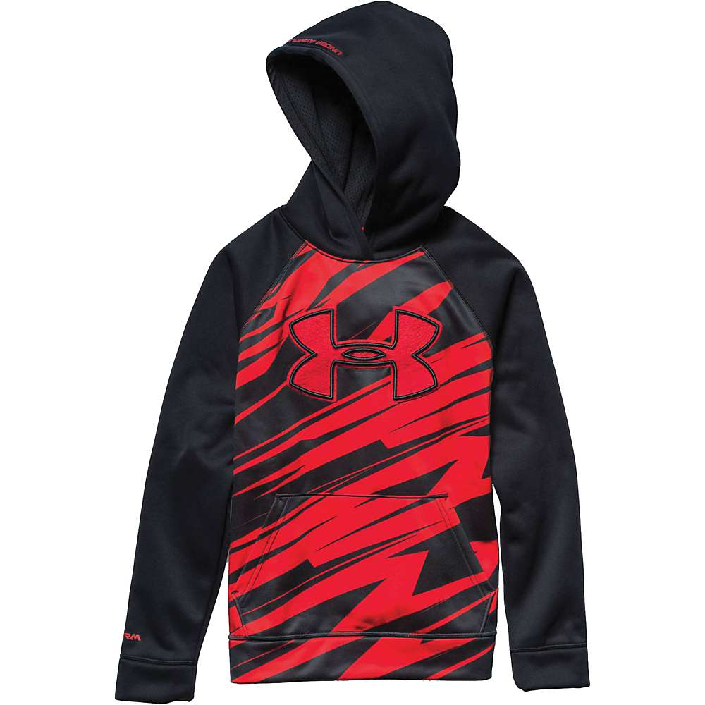 Under Armour Boys' Storm Armour Fleece Printed Big Logo Hoody - Medium - Black / Risk Red