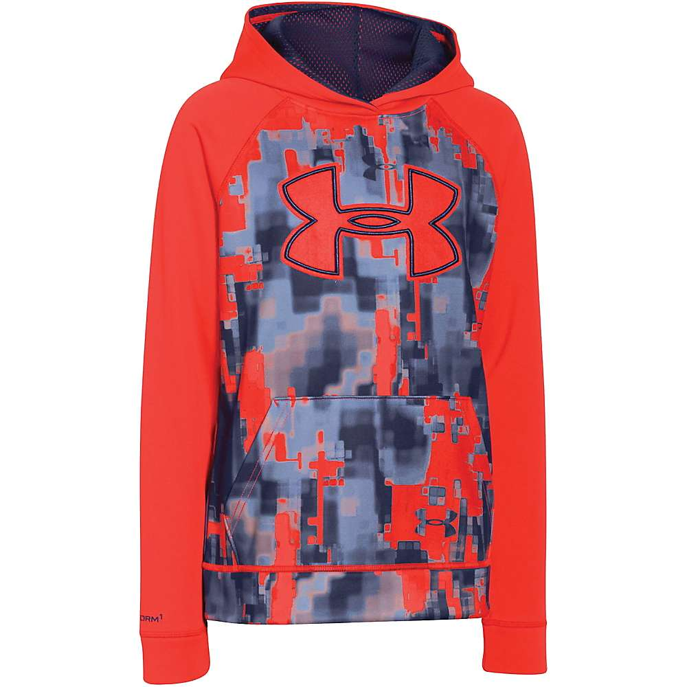 Under Armour Boys' Storm Armour Fleece Printed Big Logo Hoody - Medium - Bolt Orange / Blue Knight / Bolt Orange