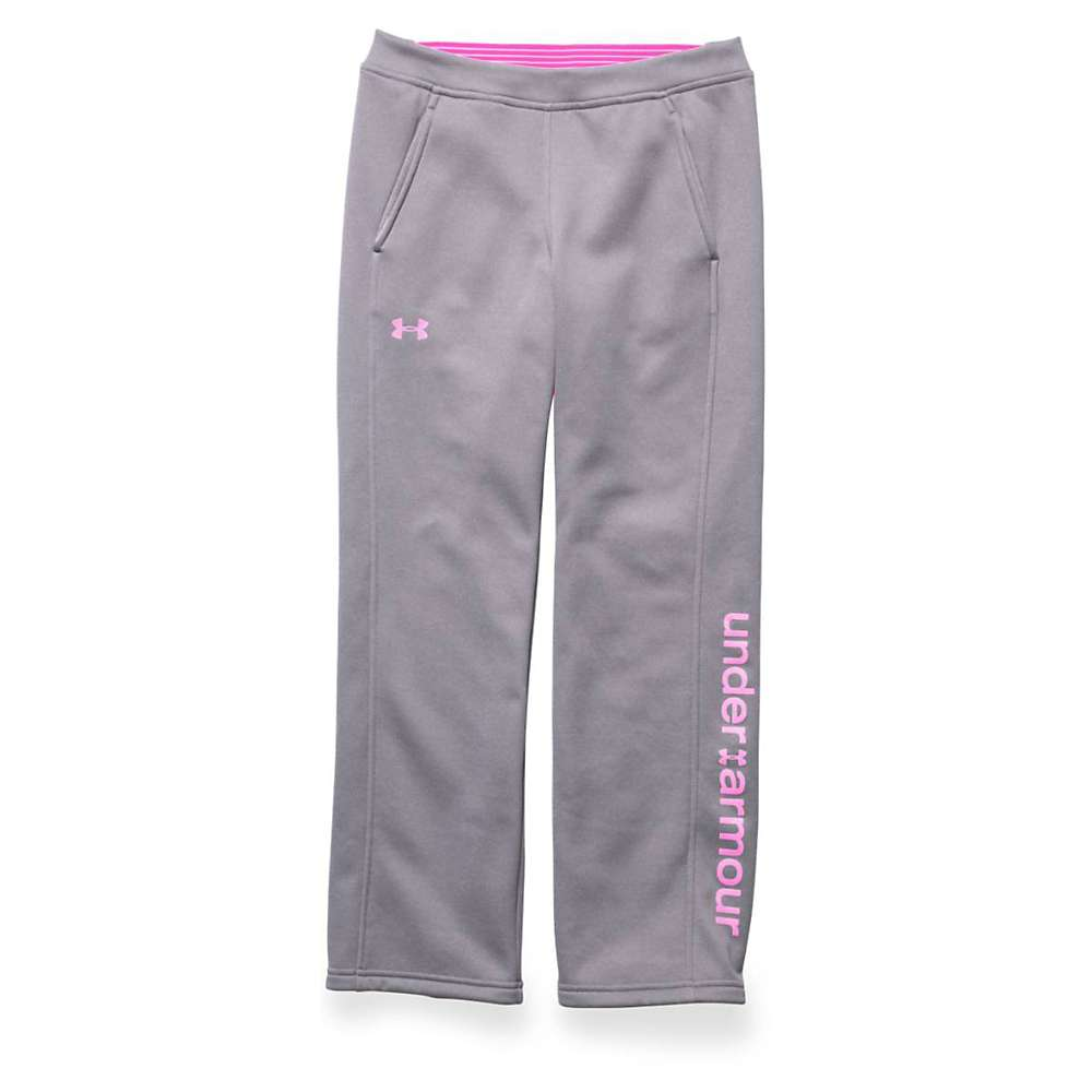 Under Armour Girls' Storm Armour Fleece Pant - Large - True Gray Heather / Rebel Pink