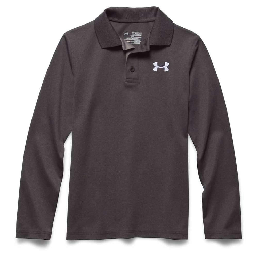 Under Armour Boys' UA Match Play LS Polo Shirt - XS - Carbon Heather / True Gray Heather / White