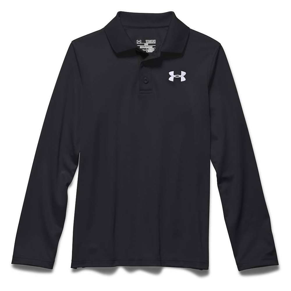 Under Armour Boys' UA Match Play LS Polo Shirt - XS - Black / True Gray Heather / White