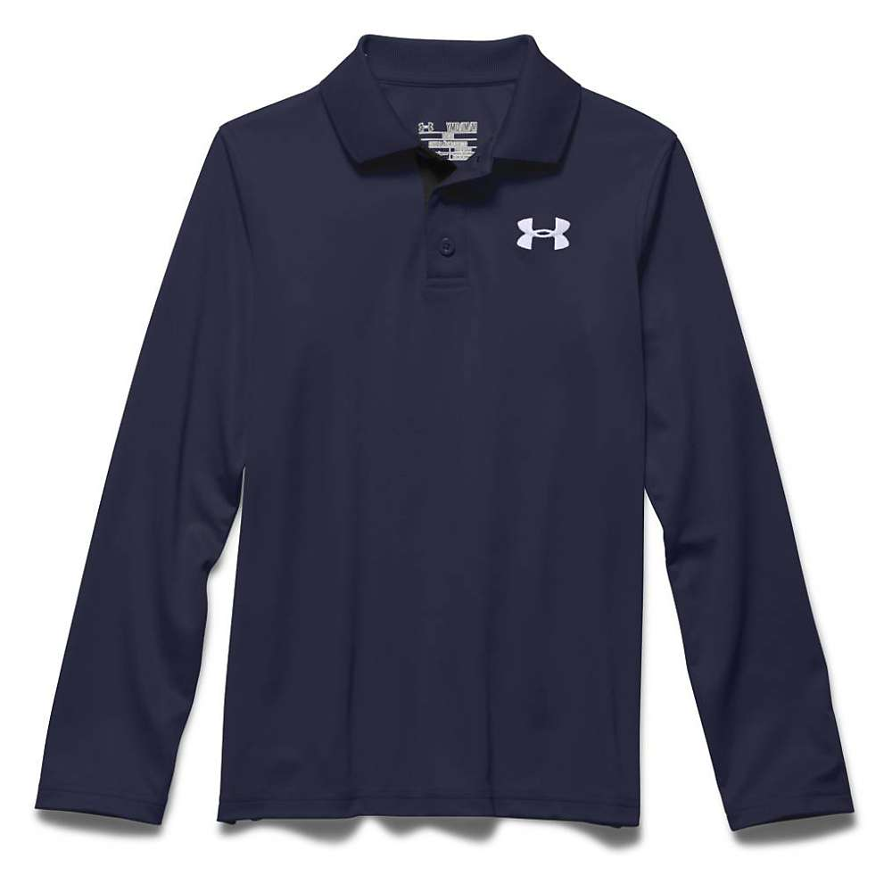 Under Armour Boys' UA Match Play LS Polo Shirt - XS - Midnight Navy / True Gray Heather / White