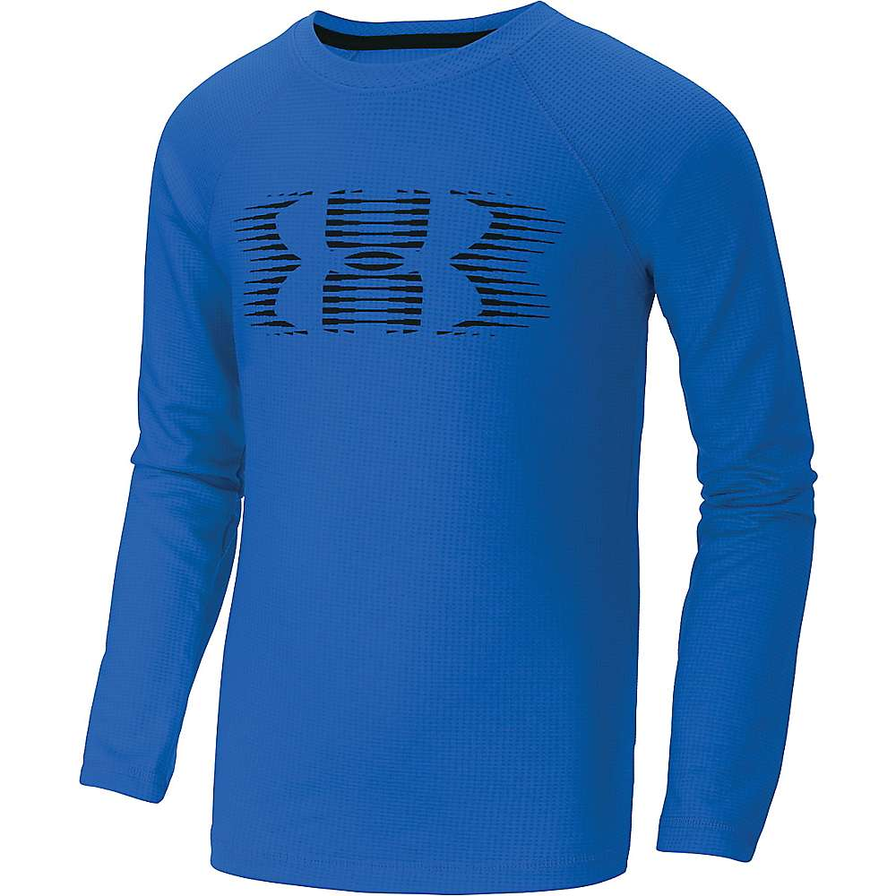 Under Armour Boys' Waffle Crew Top - Small - Blue Jet / Black