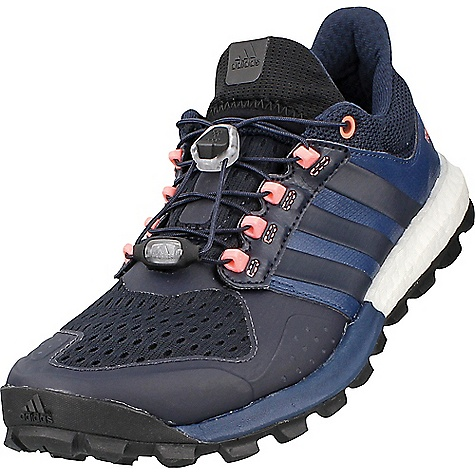 Adidas Women's Adistar Raven Boost Shoe Mineral Blue / Night Navy / Sun Glow Adidas Women's Adistar Raven Boost Shoe - Mineral Blue / Night Navy / Sun Glow - in stock now. FEATURES of the Adidas Women's Adistar Raven Boost Shoe Upper: Compression collar prevents trail debris from touching your skin Pro-Moderator - Thin TPU film on the heel for extra stability Midsole: Boost offers endless energy in the mountains and high adaptability on rocky surfaces Outsole: Continental Rubber Mud King inspired lugs for extraordinary grip in muddy conditions