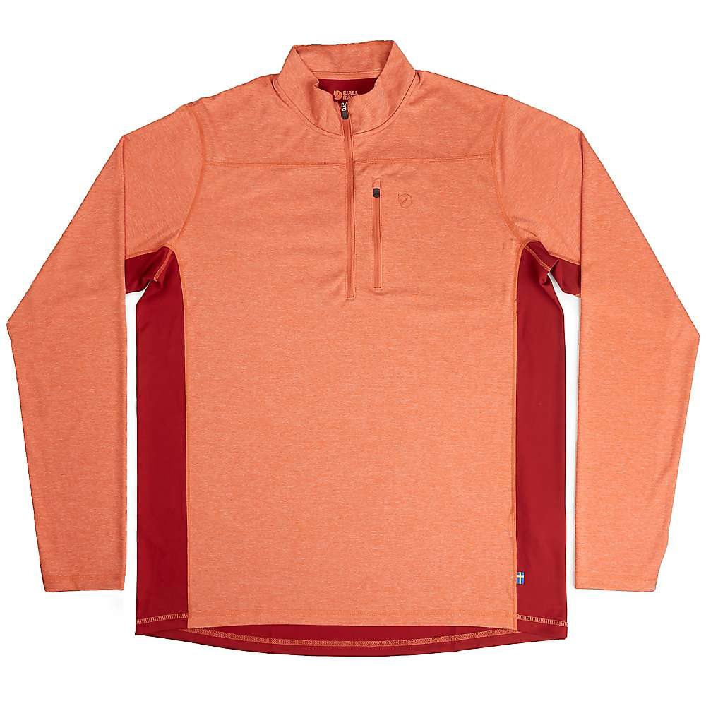 Fjallraven Men's Abisko Vent Zip LS T-Shirt - Medium - Flame Orange / Deep Red
