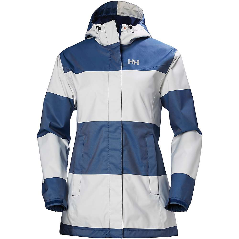 Helly Hansen Women's Bellevue Coat - Medium - Marine Blue Wide Stripe