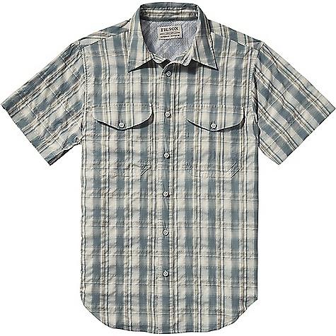 Filson Men's Twin Lakes Short Sleeve Sport Shirt Blue / White / Moss Plaid