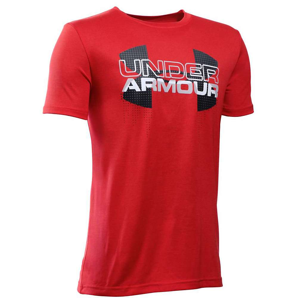 Under Armour Boys' Big Logo Hybrid SS Tee - XS - Red / Black / White