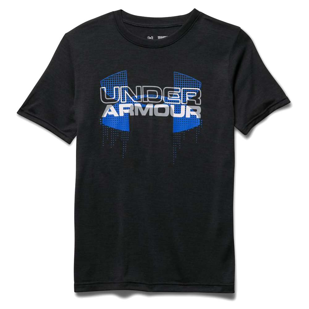 Under Armour Boys' Big Logo Hybrid SS Tee - Medium - Black / Ultra Blue / White