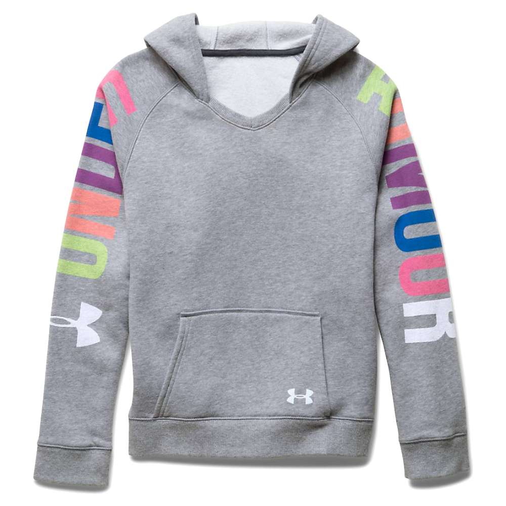 Under Armour Girls' Favorite Fleece Hoody - XS - True Gray Heather / White