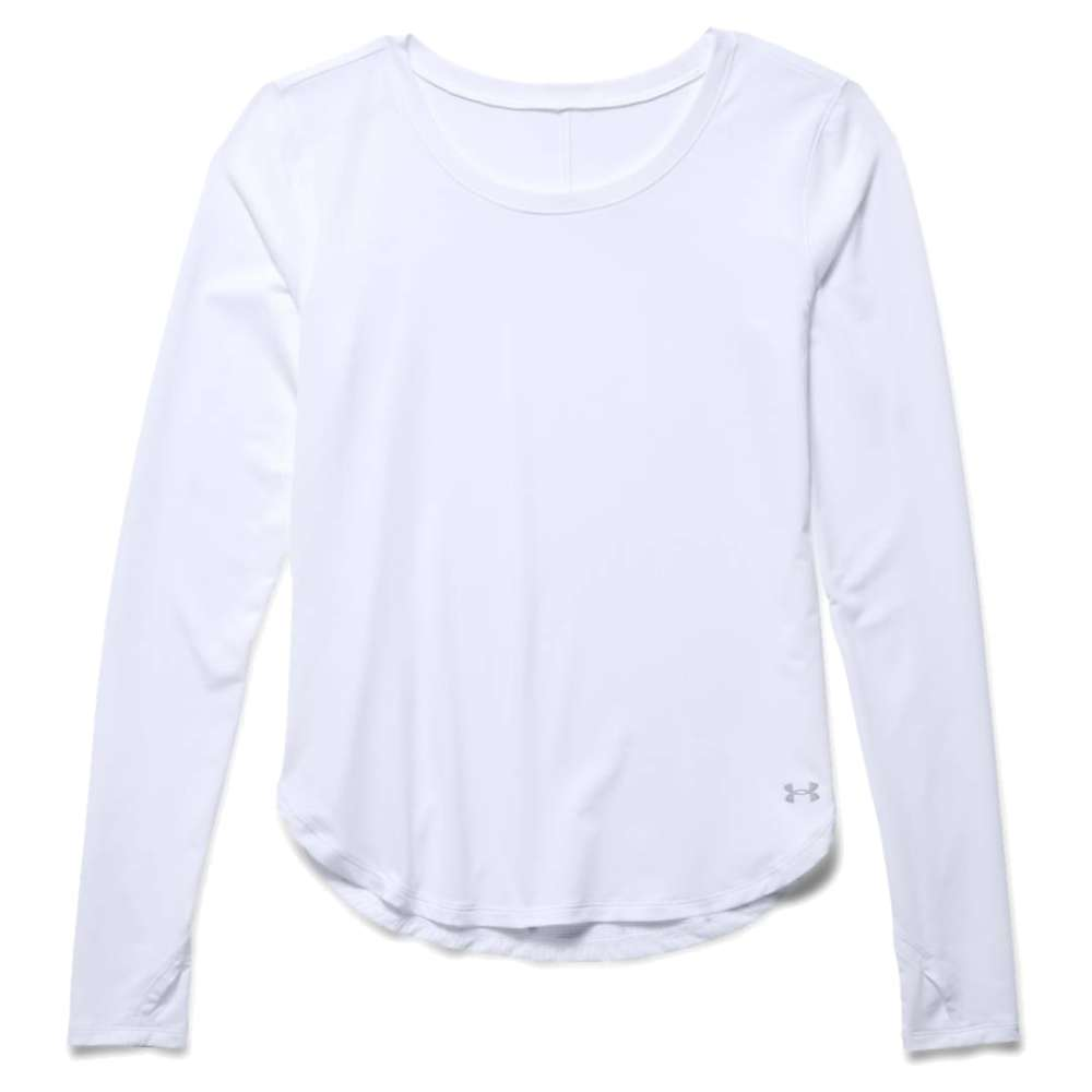 Under Armour Women's Fly By Solid LS Top - XS - White / White / Reflective