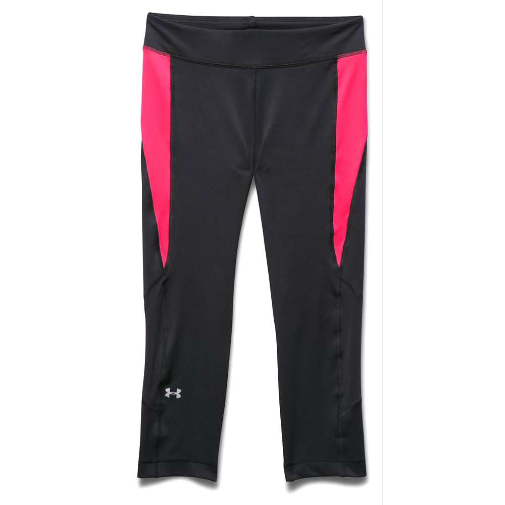 Under Armour Women's Heatgear Armour Crop Pant - XS - Black / Harmony Red / Metallic Silver