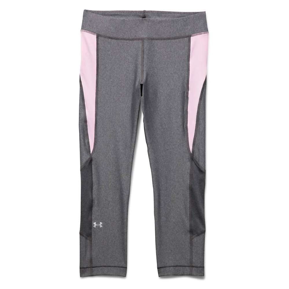 Under Armour Women's Heatgear Armour Crop Pant - Large - Carbon Heather / Petal Pink / Metallic Silver