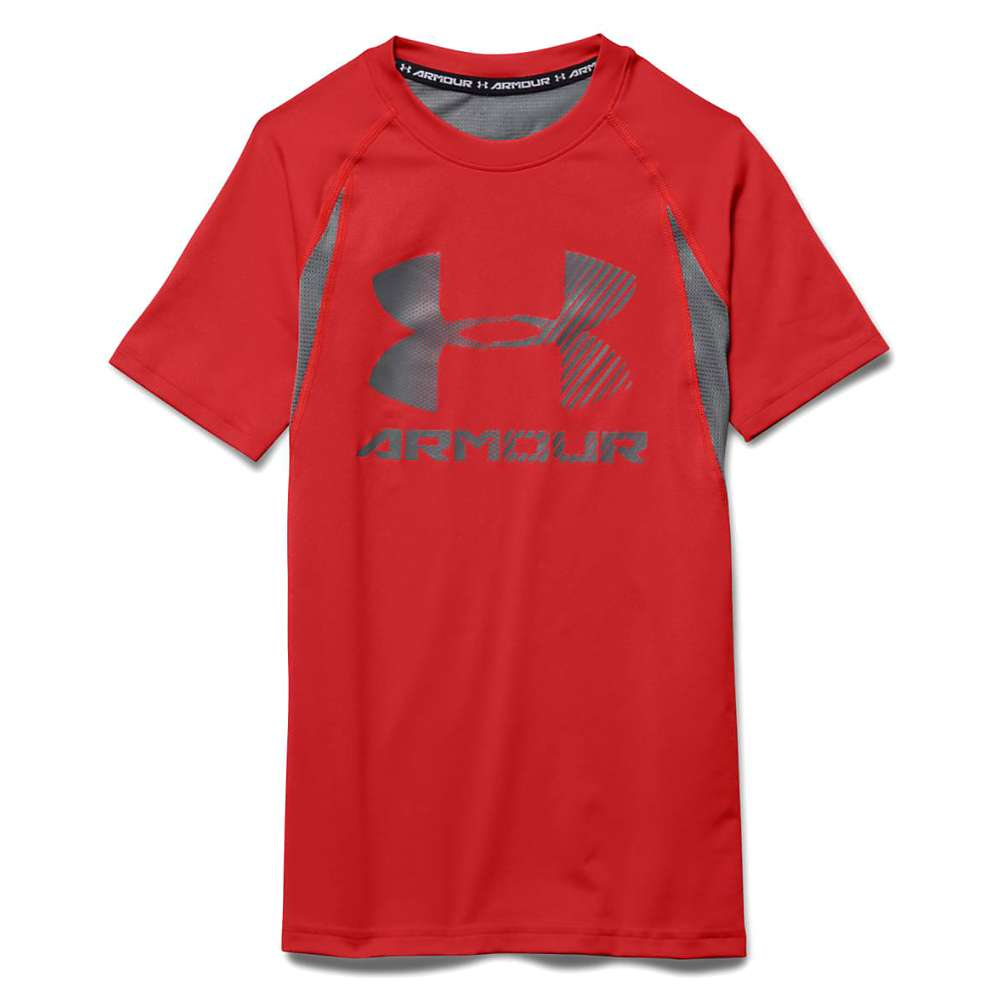 Under Armour Boys' Heatgear Armour Up Digi SS Fitted T Shirt - Large - Risk Red / Graphite / Graphite