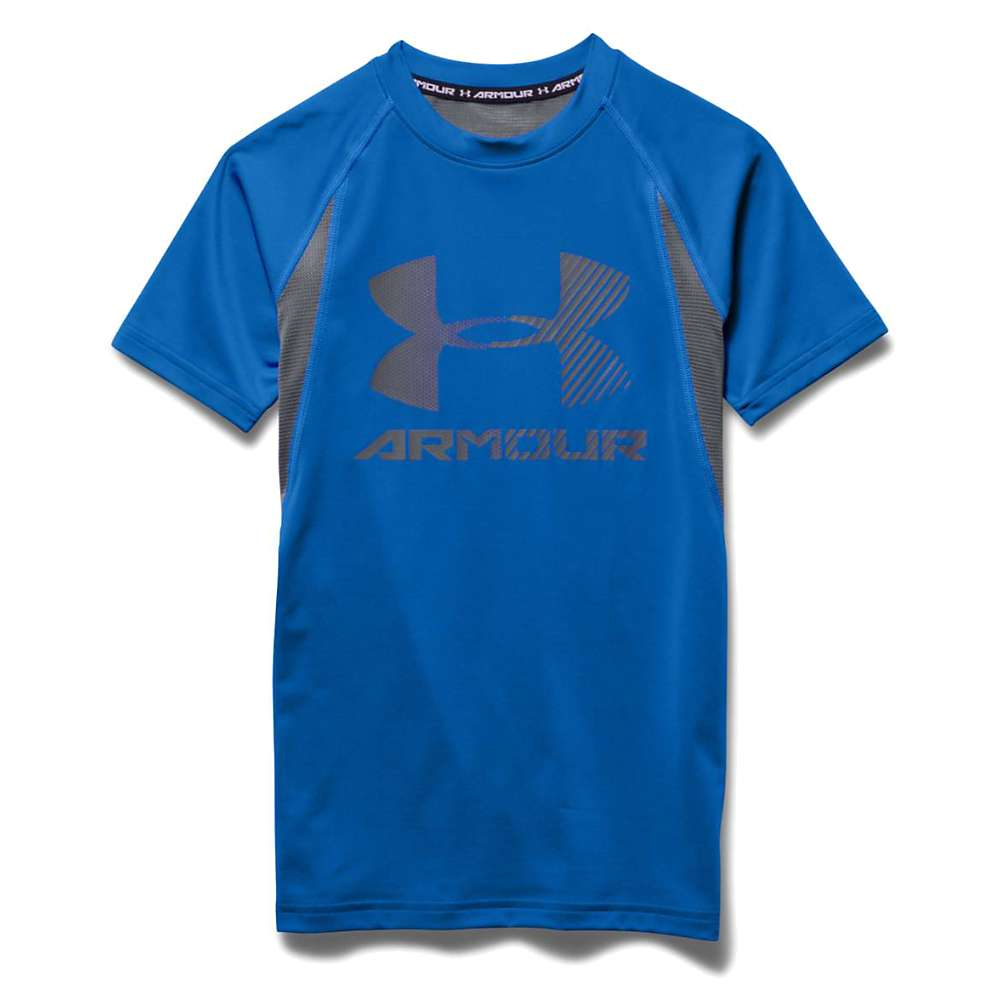 Under Armour Boys' Heatgear Armour Up Digi SS Fitted T Shirt - Large - Ultra Blue / Graphite / Graphite