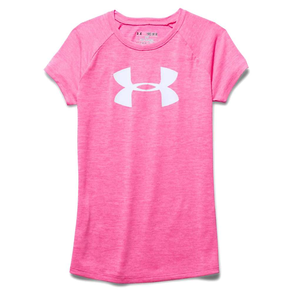Under Armour Girls' Novelty Big Logo Tech SS T - Large - Pink Punk / White