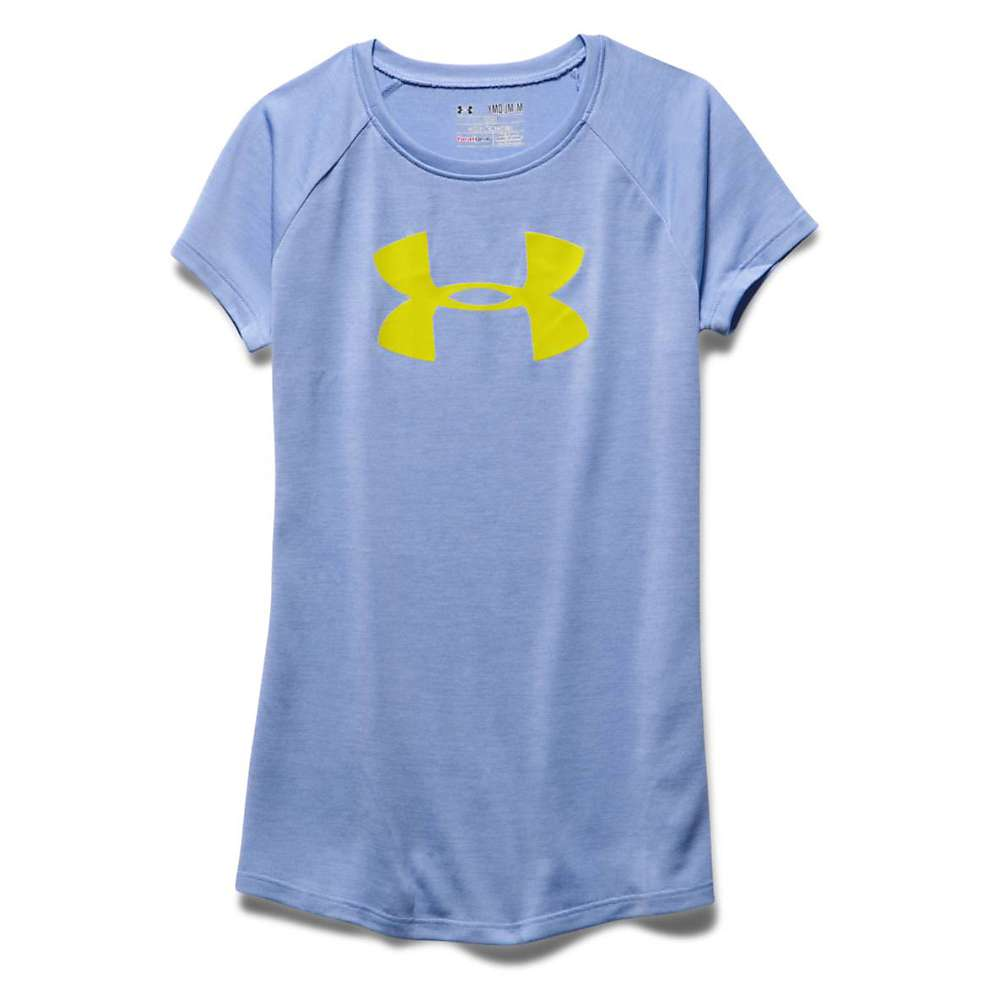 Under Armour Girls' Novelty Big Logo Tech SS T - XL - Purple Ice / Lucid Lime