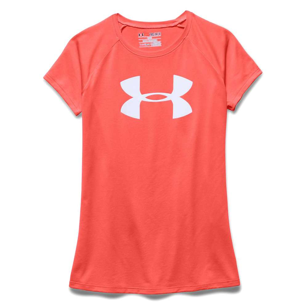 Under Armour Girls' Solid Big Logo Tech SS Tee - XL - After Burn / White