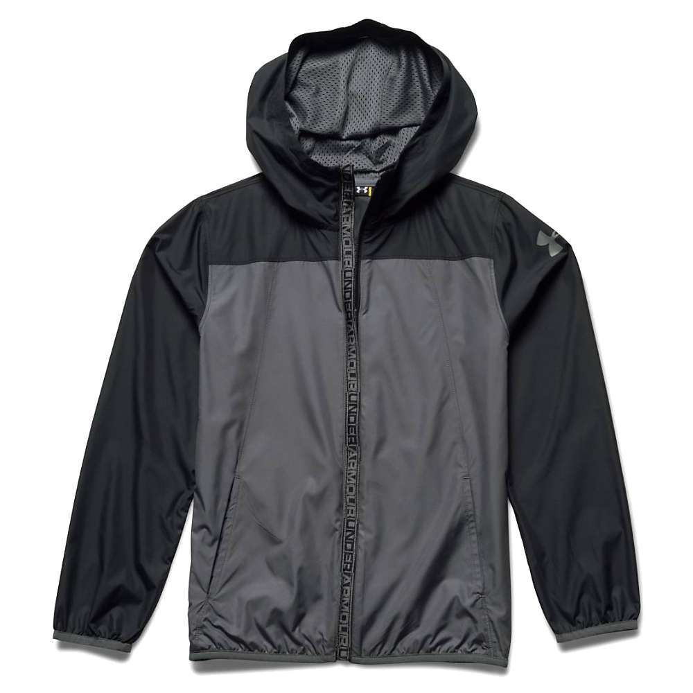 Under Armour Boys' Storm 1 Evaporate Packable Woven Jacket - XS - Graphite / Black / Graphite