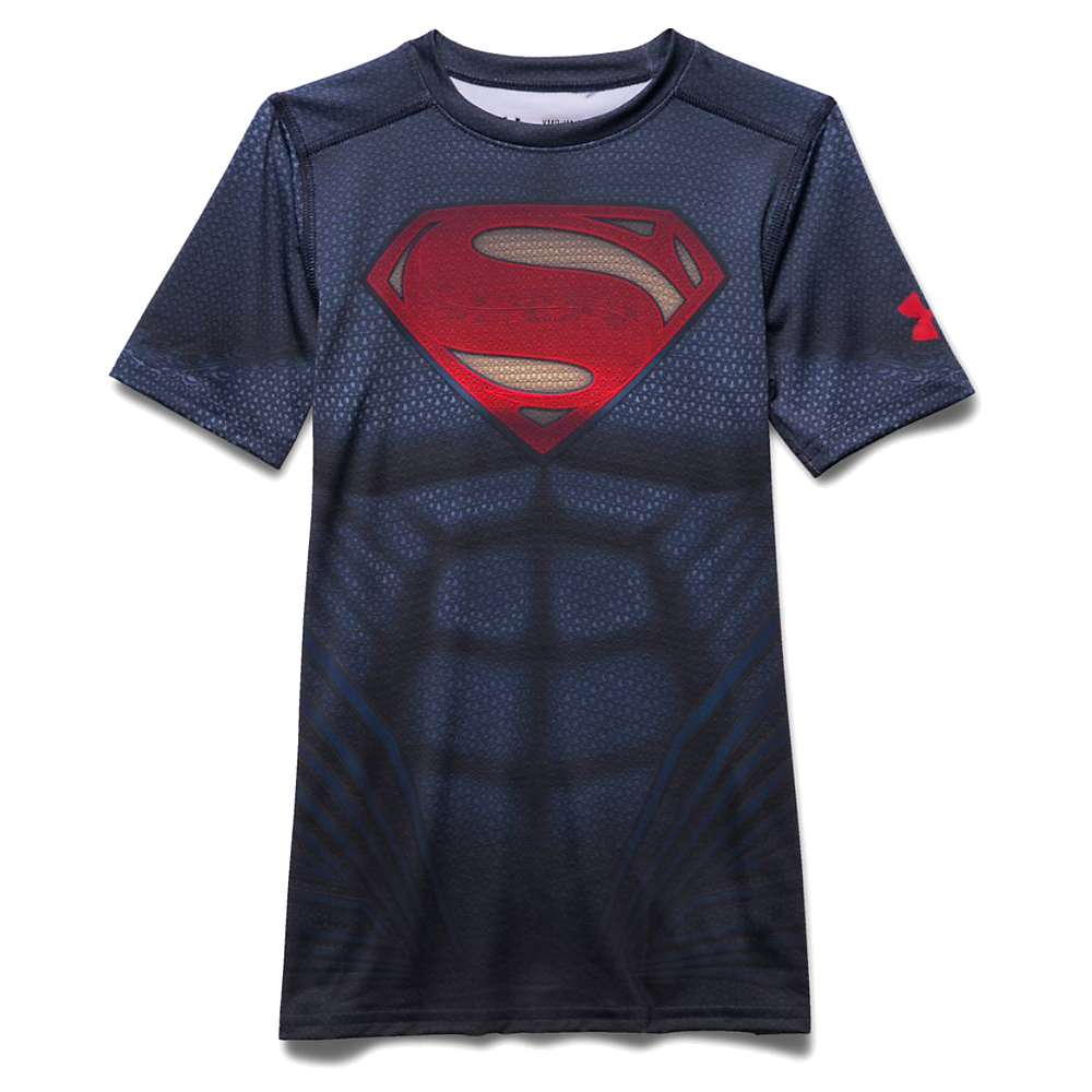 Under Armour Boys' Superman SS Suit - XL - Midnight Navy / Risk Red
