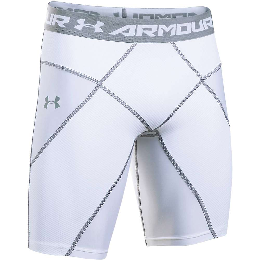 Under Armour Men's UA HeatGear Armour Core Short - Large - White / White / Steel