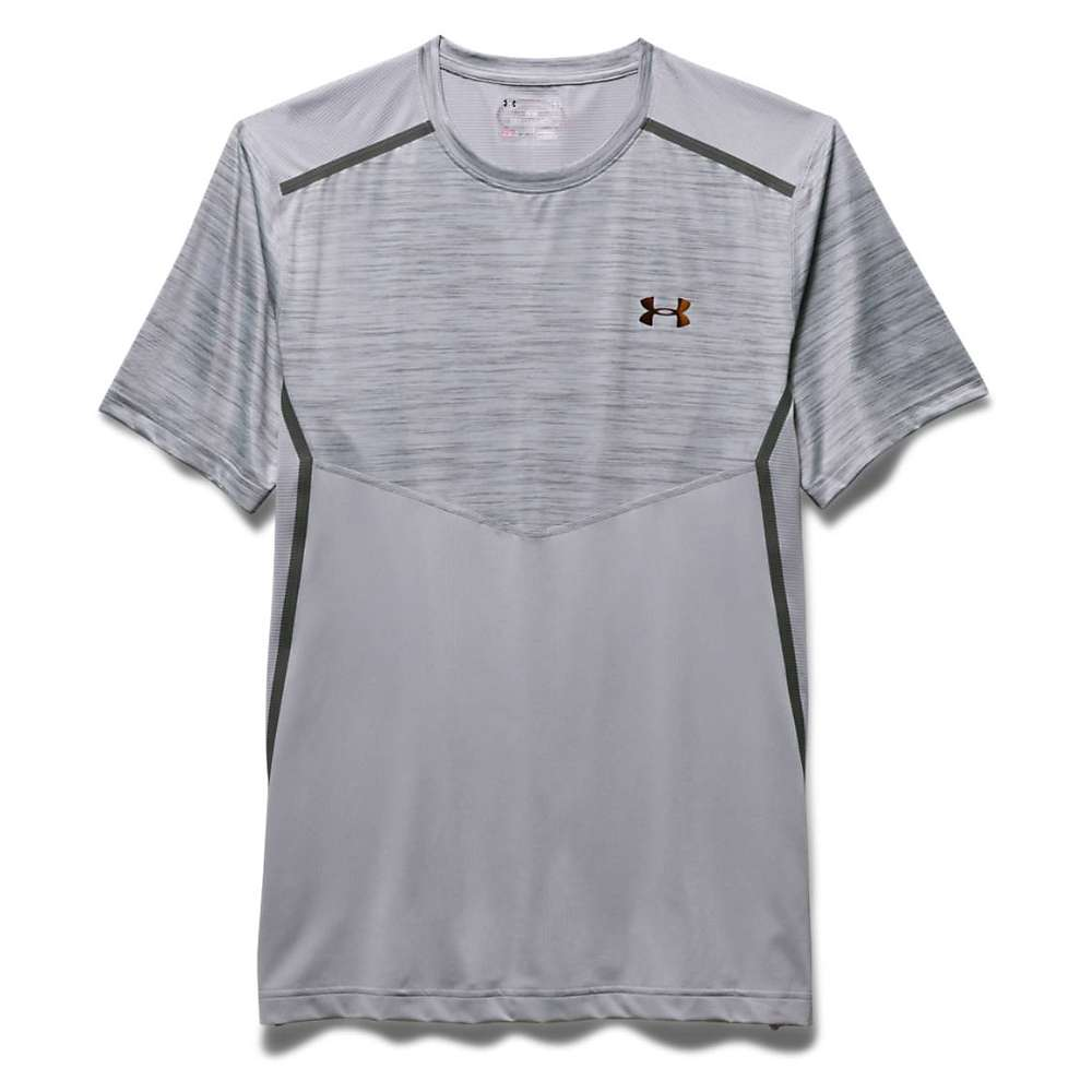 Under Armour Men's HeatGear Podium Fitted Tee - XL - Overcast Gray / Overcast Gray / Iridescent Gold