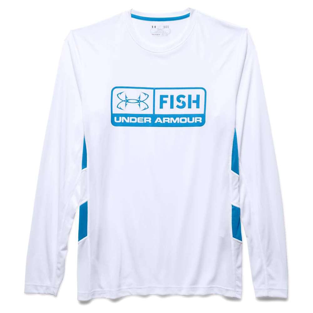 Under Armour Men's Fish Hunter Tech LS Top - Large - White / Electric Blue